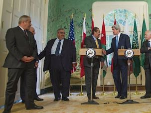 Breakthough? Secretary of State John Kerry meets with Arab League leaders in Washington.