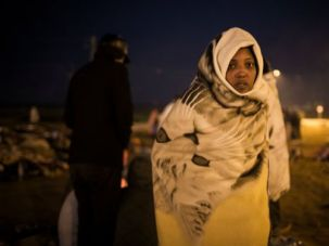Homeless: Refugees protest at the Holot detention center last February.