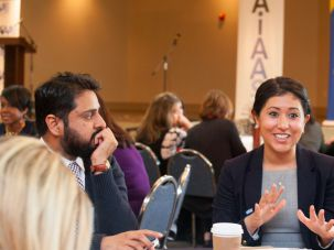 Zubair Zafar, executive director of the Roswell Community Masjid and Laila E. Dreidame, director of philanthropy of the American Civil Liberties Union, were among those drawn to AIAAS's community-wide meeting.
