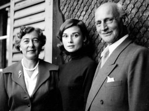 Audrey Hepburn with Otto Frank and his second wife.