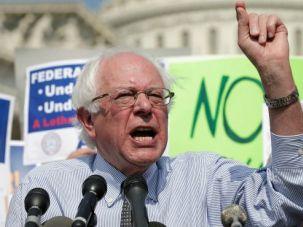 Bernie Sanders protesting the furlough of federal workers, October 2013