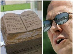 Alabama Chief Justice Roy Moore and his Ten Commandments memorial, 2003.