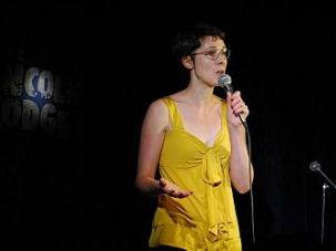 Blair Thornburgh performing stand-up