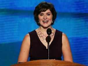 Sandra Fluke speaking at the DNC