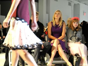 Tavi Gevinson (right) and Maria Sharapova sit front row at the Rodarte fall 2012 fashion show.