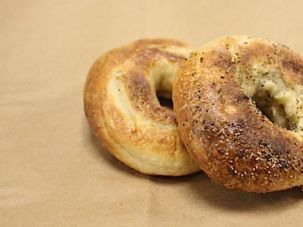 Yummy:Bagels fresh from the oven at Black Seed Bagels in New York City.