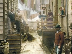 Bandits and Bubbes: Riis?s famous 1888 picture displays the menace and domesticity of downtown New York at the end of the 19th century.