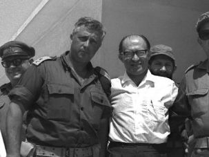 When Shall We Three Meet Again? Menachem Begin is flanked by future Prime Minister Ariel Sharon and General Avraham Yoffe in 1969.