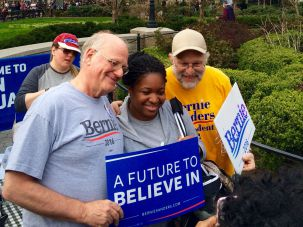 Toni Pettway, 26, with Ben Cohen and Jerry Greenfield.