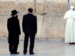 A Pope?s Prayer: Pope Benedict XVI, on the second day of his visit to Israel, prayed at the Western Wall in Jerusalem. On Tuesday, Israel?s Sephardi Chief Rabbi urged the pope to declare that the Jews belong in Israel