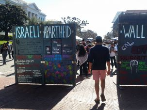 Inescapable:An SJP 'apartheid wall' on the University of California's Berkeley campus hits students directly with its message critical of Israel.