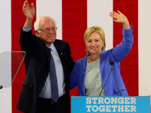 Bernie Sanders and Hillary Clinton on July 12, 2016 in Portsmouth, New Hampshire.