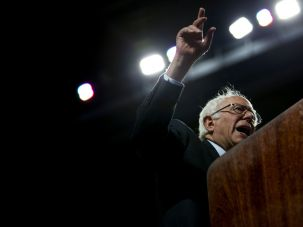 Democratic presidential candidate Sen. Bernie Sanders (D-VT) speaks at a rally at Temple University on April 6, 2016 in Philadelphia, Pennsylvania.