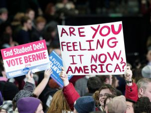 Bernie Sanders supporters rally in Nevada.