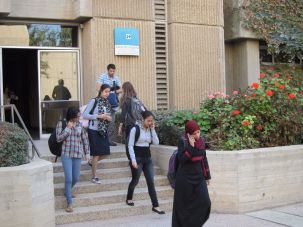 Students walking on campus at Ben-Gurion University of the Negev.