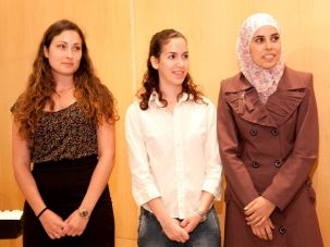 Award recipients Ma?ayan Givoni, Amalya Ze?evi and Safa Abu Hani