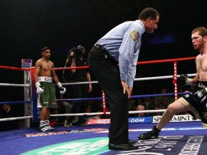 Star of David: Dmitriy Salita struggles in the ring after Amir Khan?s lightning-quick blows.