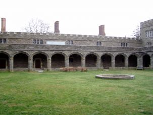 The Cloisters, an open courtyard within the M. Carey Thomas Library at Bryn Mawr College.