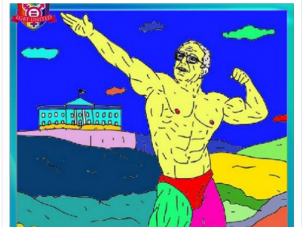 "A Russian Facebook ad promoting a ""Buff Bernie"" coloring book"