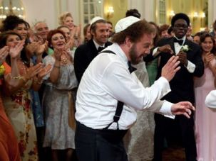 Fathers and Sons: Barney (Paul Giamatti) and his father, Izzy (Dustin Hoffman), dance at one of Barney?s weddings.