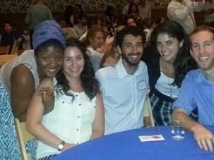 Erika Davis and friends at the Interfaith Breakfast at Congregation Beth Elohim in Brooklyn.