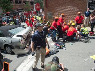 The aftermath of a deadly car-ramming attack on protesters opposing a white supremacist rally.