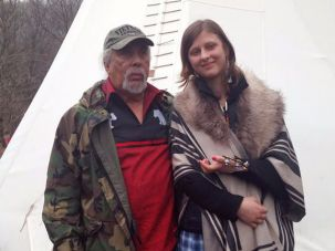 Chief Dwaine Perry of the Ramapough Lenape and Sophia Wilansky.