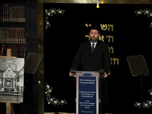 The Ashkenazi Chief Rabbi of Israel, David Lau, speaks at a Holocaust commemoration ceremony in Berlin.