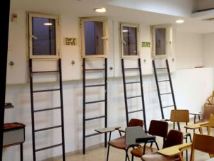 School's Out: Escape ladders line the walls in Rachel Kadish's bomb shelter classroom at Bar Ilan University.