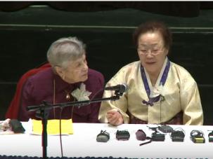 """Korean """"comfort women"""" and Holocaust survivors meet in 2011."""