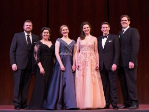 Nussbaum Cohen, second from the right, poses with the other winners of the 2017 Metropolitan Opera National Council Auditions.