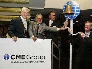 OMG, CME: Leo Melamed (second left) rings the bell to start trading on the CME, by some measures the largest futures exchange in the world.