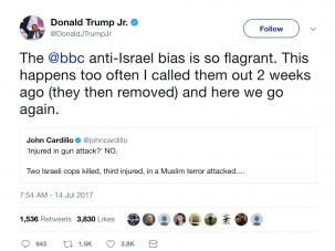 Donald Trump, Jr., reacted to media coverage of the shooting in Jerusalem that left two police officers dead.