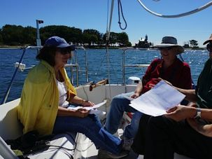 Not Your Regular Classroom: Congregant Joyce Singer, skipper William Berson and Rabbi Greg Wall during a Talmud class on board a sailboat.