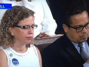 Wasserman Schultz and Ellison during President Trump's speech to a joint session of congress