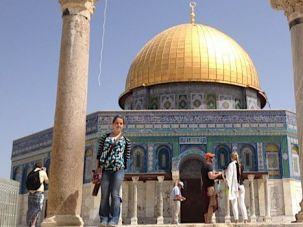 Temple Mount: Eliza Burbank stands at the Dome of the Rock with skies clear.