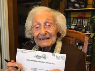 Estelle Liebow Schultz, 98, is #WithHer.