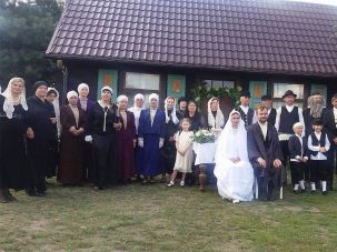 Villagers attending a fake Jewish wedding in the Polish village of Radzanow, Aug 5, 2017.