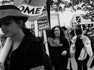 On The Move: Ellen Willis at the 2004 March for Women's Lives, accompanied by her sister, Penny Froman (center) and cousin Judy Oppenheimer (far right).