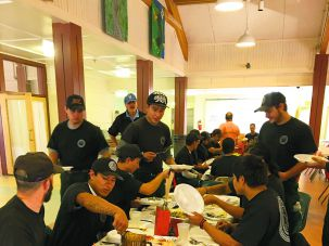First, Eat!:Firefighters from Oklahoma take a kosher breakfast at the Ramah Darom base camp before going out to fight the nearby fire.