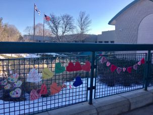 Hearts outside of JCC in Rochester, New York.