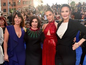 Director Patty Jenkins, Sue Kroll of Warner Bros. Pictures, and actresses Gal Gadot and Lynda Carter