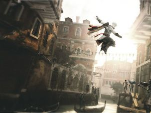 Live From Venice: Ezio leaps a canal in search of justice, in ?Assassin?s Creed: Brotherhood.?