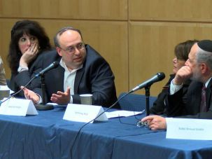 From left: Naomi Mark, Community Psychotherapist; Rabbi Nathaniel Helfgot, chair of the Department of Talmud at SAR High School; Lynn Levy, Yeshiva University Professor; Rabbi Shmuel Goldin, former president of the RCA.