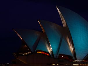 The Sydney Opera House in teal for ovarian cancer awareness.