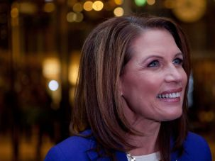 Michele Bachmann speaks to members of the media after meeting with Donald Trump at Trump Tower on 5th Avenue on November 21, 2011 in New York City.