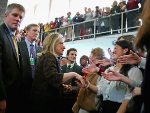 Hillary Clinton shakes hands with people on February 1, 2013 in Washington, DC.