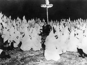 A midnight meeting of the Ku Klux Klan in 1922.