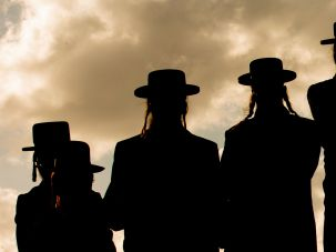 Orthodox Jews gather.