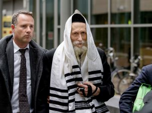 Berland in Haarlem: Rabbi Berland in 2014, in a previous extradition trial in the Netherlands.